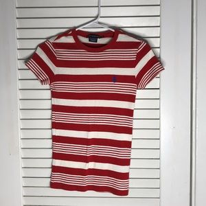 Red Stripped polo top